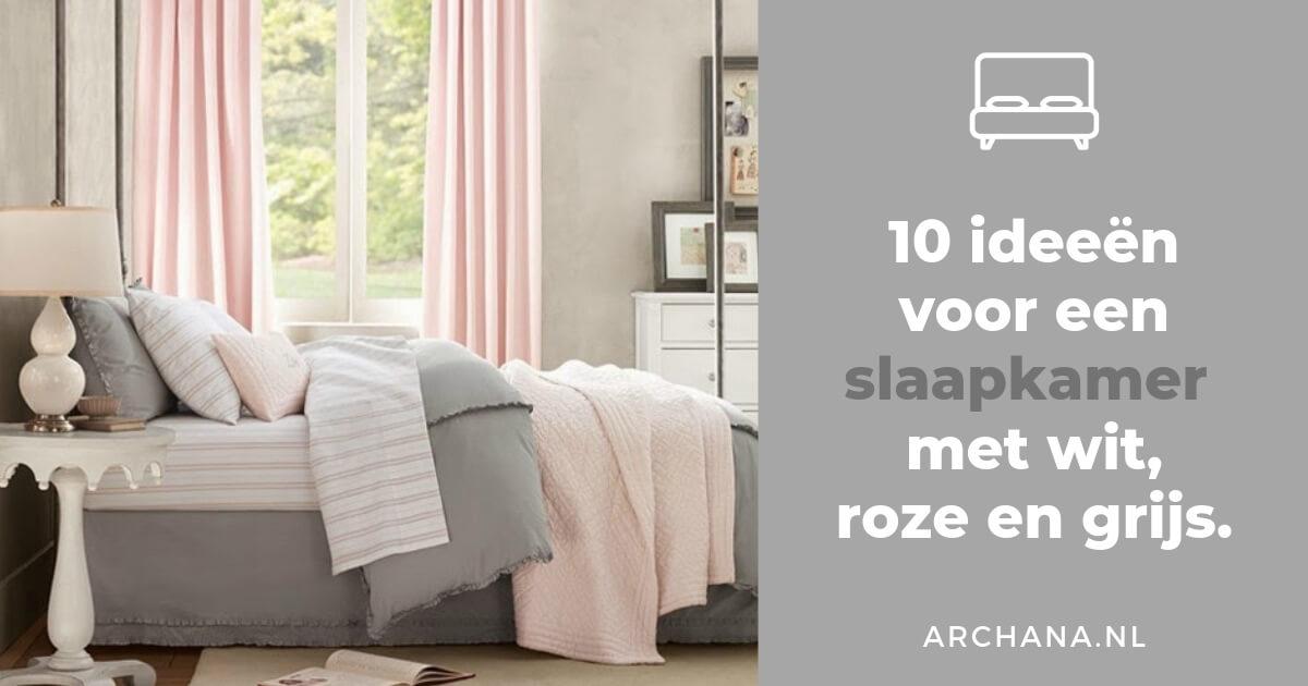 Slaapkamers ideeën voor een slaapkamer met wit roze en grijs