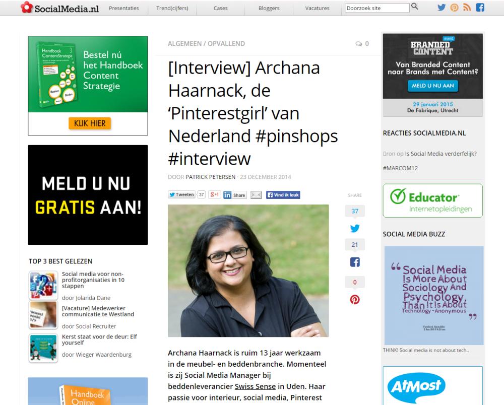 INTERVIEW: Archana Haarnack, de 'Pinterestgirl' van Nederland op SocialMedia.nl | Pinterest Nederland | ARCHANA.NL #pinterest #pinterestmarketing