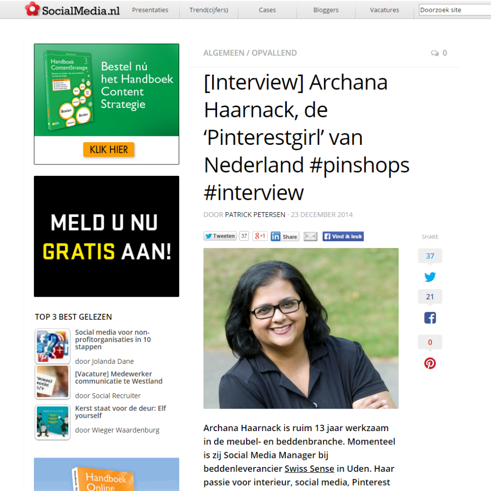 INTERVIEW: Archana Haarnack, de 'Pinterestgirl' van Nederland op SocialMedia.nl | Pinterest Nederland | ARCHANA.NL #pinterest #pinterestmarketing