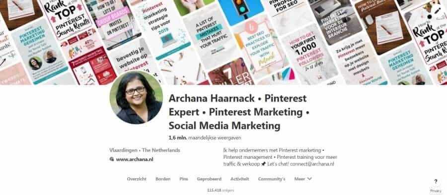 Pinterest profiel van Archana Haarnack - ARCHANA.NL #pinterest #pinterestnederland