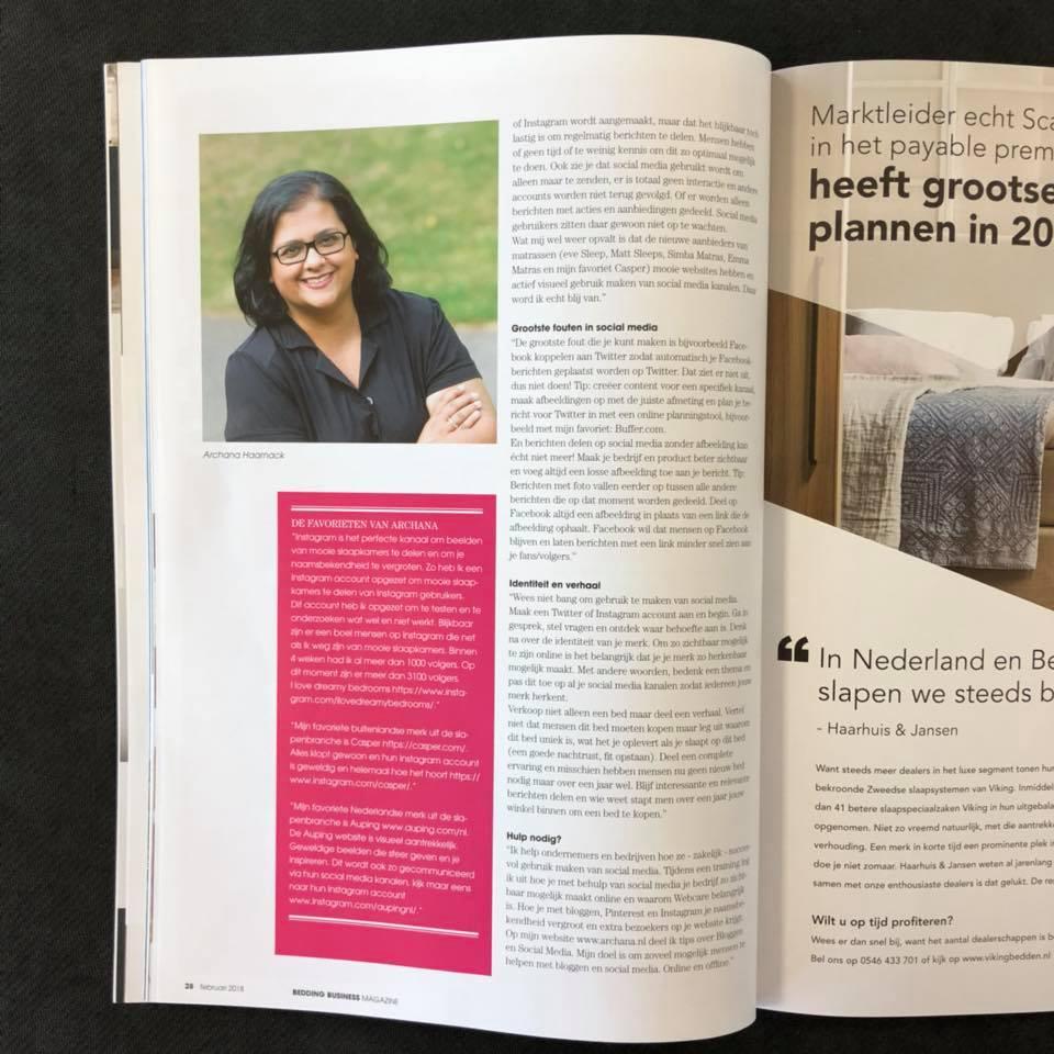 Is jouw social media aanpak de juiste?   Bedding Business Magazine   artikel met Archana Haarnack   ARCHANA.NL