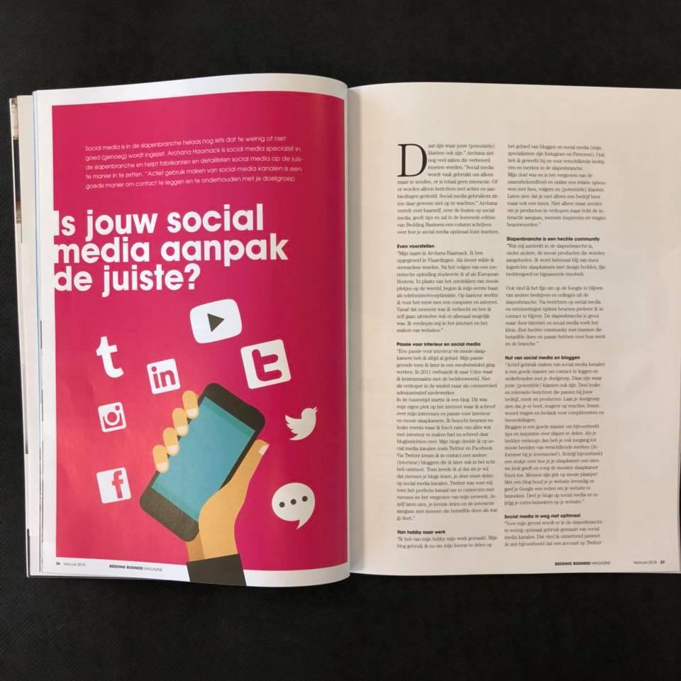 Is jouw social media aanpak de juiste? | Bedding Business Magazine | artikel met Archana Haarnack | ARCHANA.NL